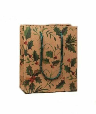 Pack of 12 Small Holly Design Christmas Gift Bags Xmas Wrapping Paper Packaging