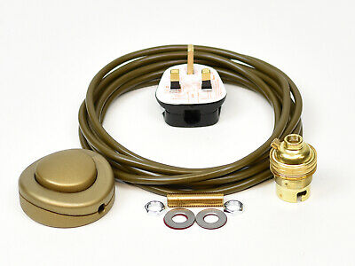 Floor Lamp Wiring Kit Brass Bulb Holder BC B22 Fitting Flex Cable Plug & Switch