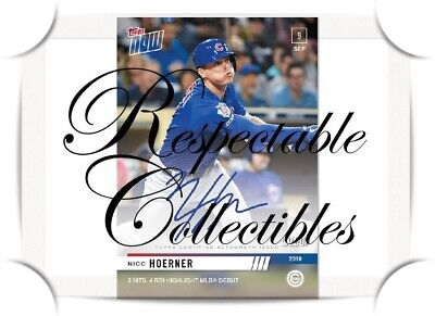 Nico Hoerner MLB Debut & 1st TOPPS NOW AUTO/99 #820A 9/9/2019 Rookie Call-up RC
