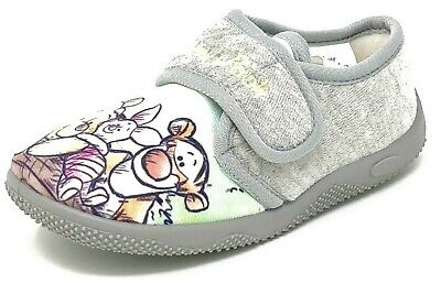 Kids Childrens Girls Boys Grey Winnie the Pooh Slippers Booties Mules Size 5-10