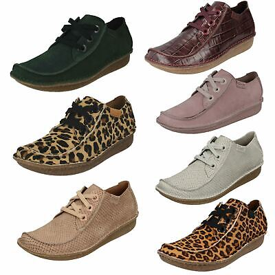 Ladies Clarks 'Funny Dream 19' Casual Leather Lace Up Flat Shoes