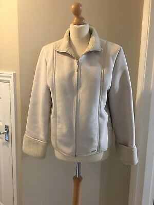 Ladies Next Cream Faux Fur Jacket/coat, Size UK14, Good Condition