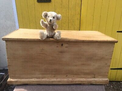Lovely Antique Solid Pine Blanket Box With Blacksmith Made Metal Handles