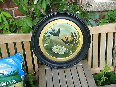 ANTIQUE C19th OIL PAINTING IN A CIRCULAR WOODEN FRAME