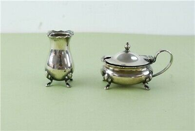 Lowe & Sons Cruet Set Silver Plated Mustard Pot & Seasoning Pot