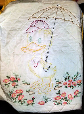 Vintage 1950's Handmade Embroidered Duck & Quilt  Hand Quilted Baby Child