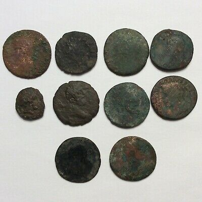 Ancient Roman Coin Lot Of 10 Authentic Copper Bronze 78 Grams Uncleaned Bust Sc