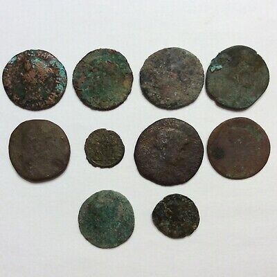 Ancient Roman Coin Lot Of 10 Authentic Copper Bronze 81 Grams Uncleaned Bust Sc