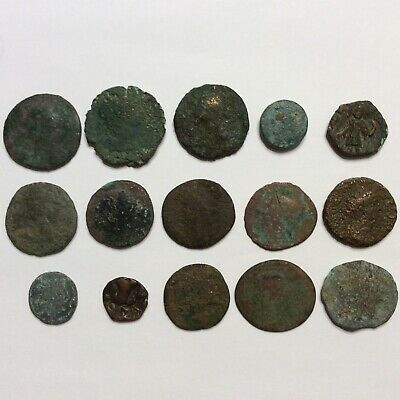Ancient Coin Lot Of 15 Bronze Copper Roman Egyptian Indian 134 Grams Uncleaned