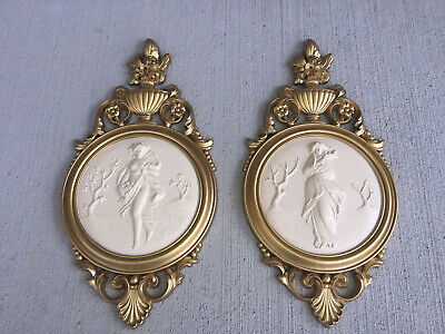 Vintage Syroco Gold Grecian Roman Goddess ladies Wall Plaques Hollywood Regency