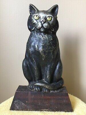 "ANTQ. 1920's ""BLACK CAT, GREEN EYES, CURLED TAIL SITTING ON WEDGE"" IRON DOORSTOP"