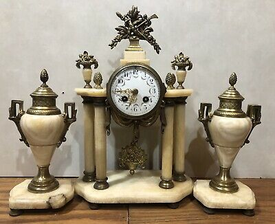 French Marble Portico Pillar Garniature Urn Japy Freres Mantel Clock Set