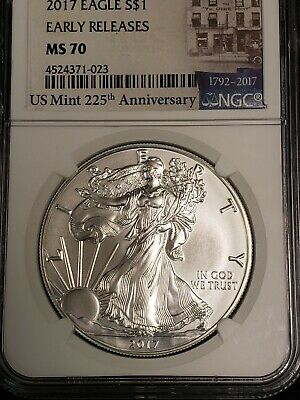 2017 $1 NGC MS70 American Silver Eagle (S) Early Releases Mint 225th Anniversary