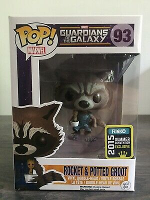 Funko Pop! Marvel Guardians of the Galaxy 93 Rocket & Potted Groot SDCC 2015