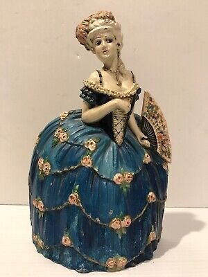 Waverly Studio Cast Iron Victorian Lady Doorstop Figure Antique FRENCH WOMAN FAN