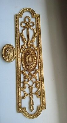 Vintage  Neo-Classical Style Gilt Brass Door Plate matching Escutcheon Sunflower
