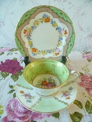 Mix & Match English China Trio Copeland Tea Cup Saucer Foley Plate Green Floral