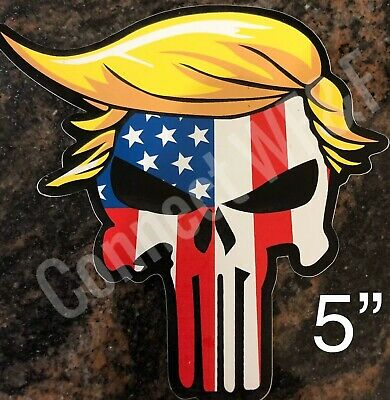 "Donald Trump 2020 Hair Skull Punisher 5"" Die Cut Bumper Window Sticker USA Flag"