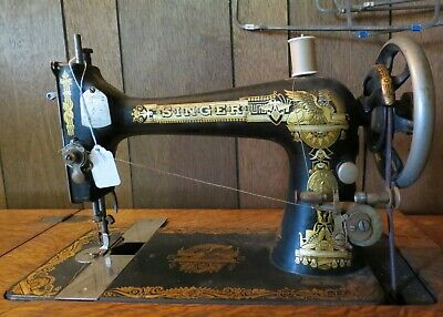 Antique 1910 SINGER TREADLE SEWING MACHINE w/ 4 Drawer Cabinet