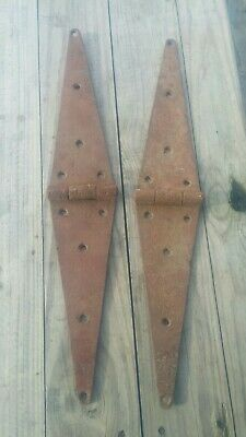 2 Vtg 24 inch Rusty Strap Primitive Iron Barn Cabin Gate Door Hinges Decor OLD