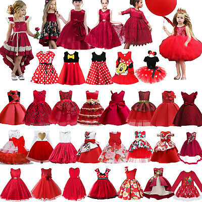 Kids Baby Girls Red Party Dress Princess Wedding Flower Girls Fancy Tutu Dress