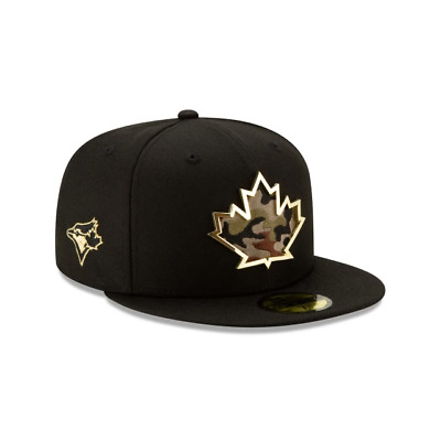 New Era 59Fifty MLB Toronto Blue Jays Maple Leaf Black Gold Camo Hat Size 7 1/2