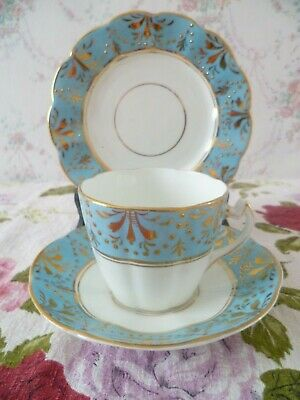 Vintage / Antique English China Trio Tea Cup Saucer Turquoise Gilded