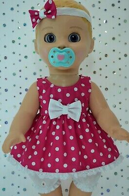 "Play n Wear Dolls Clothes For 17"" Luvabella  POLKA DOT DRESS~BLOOMERS~HEADBAND"