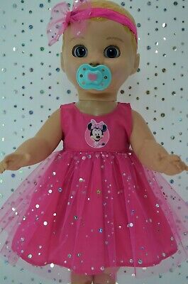 "Play n Wear Dolls Clothes For 17"" Luvabella Doll HOT PINK SEQUIN DRESS~HEADBAND"
