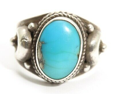 Vintage Southwestern Sterling Silver Ornate Pyrite Blue Turquoise Wide Band Ring