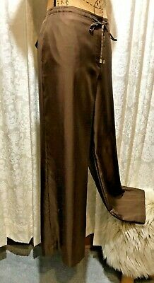 NWOT TALBOTS 1946 Silk Wide Straight Career Pants Cocoa  6, Pockets, Frt Tie Zip
