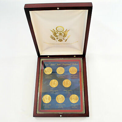 2011 Set of 8 Golden Presidential Dollar Coins P&D UNC w Display Box - Set A