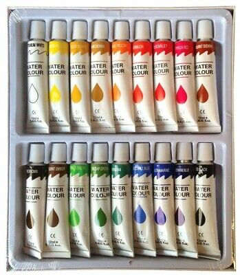 18 Brilliant Colours x 12ml DESIGNER WATERCOLOUR PAINT TUBES SET Paints