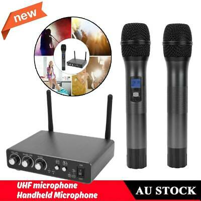 LCD UHF Wireless Microphone System 2 Dynamic Handheld Mic For Party Karaoke Hot