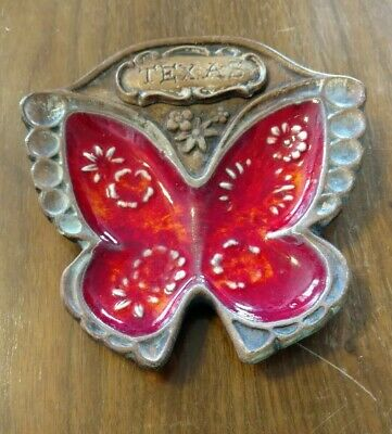 Vintage California Pottery Treasure Craft Texas Butterfly Dish Ashtray 1960s Red