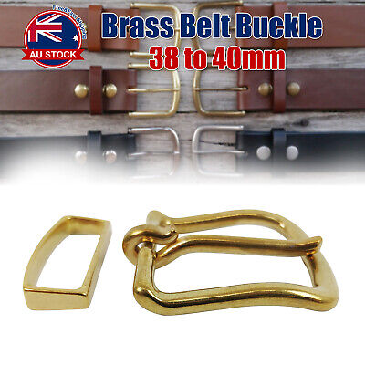 38MM Solid Brass Pin Buckle w/ Keeper Quality Polished Belt Replacement Snap  O