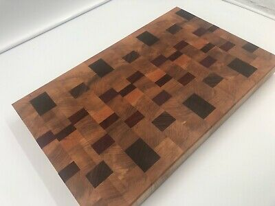 Rustic And Exotic Wood End Grain Cutting Board Charcuterie Tray Chaos Pattern