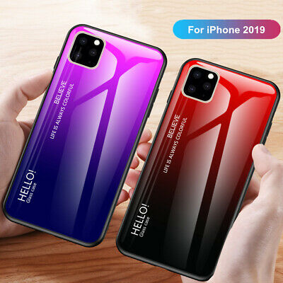 For iPhone 11 Pro Max 11 Pro Luxury Slim Hybrid Case Gradient Back Glass Cover