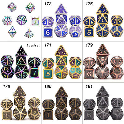 7 Pcs/Set Alloy Metal Dice Set Playing Game Poker Card Dungeons Dragons Party