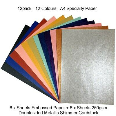A4 Embossed + Metallic Shimmer Paper for Invitations Card Making Cards Cardstock