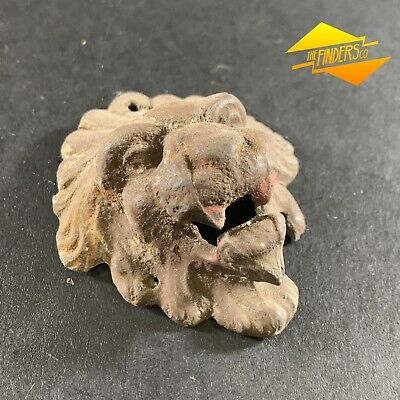 Antique Marked Cast Iron Small Lions Head Door Knocker Wall Mouned Vintage