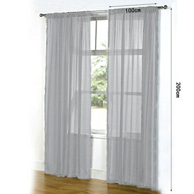 2 Panels Of Top Quality Net & Voile Curtains 100*200CM Pair Durable Nice Latest