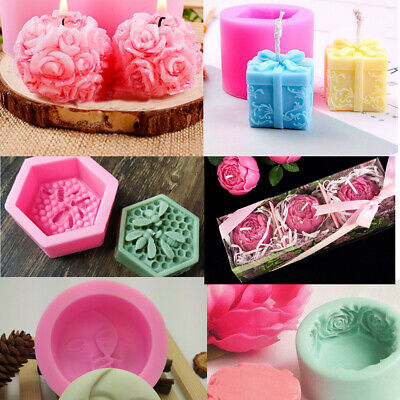 Silicone Moon Rose Christmas Gift Soap Fondant Cake Mold Candle Crafts Mould AU