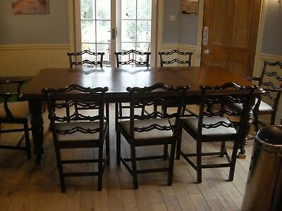 Edwardian Solid Oak With Oak Veneer Top Antique Extendable Dining Table