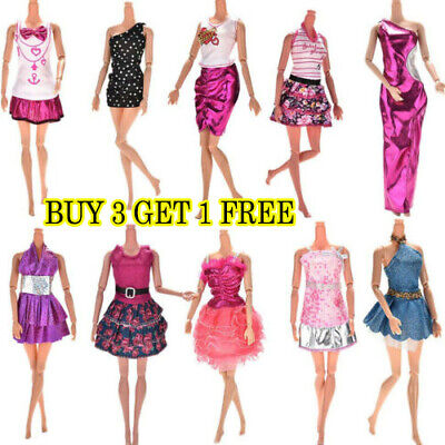 10Pcs Dresses for Barbie Doll Fashion Party Girl Dresses Clothes Gown Toys Gift.