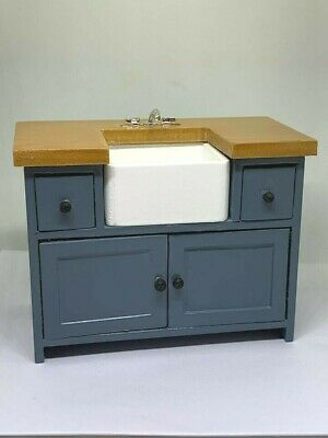 1/12th Scale Dolls House Emporium Shaker-style Kitchen Belfast Sink Unit Blue