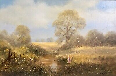 """Ted Dyer Original Oil On Canvas Painting """"Fishing For Minnows"""" 1977"""