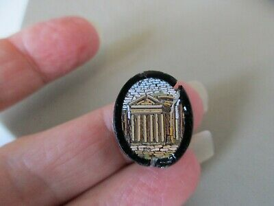 Antique Victorian Italian Pantheon Micro Mosaic Plaque For Ring Brooch Repurpose