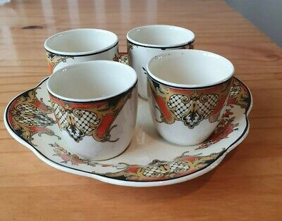 vintage WoodsIvory Ware, 4 egg cups with stand ex con white floral rare