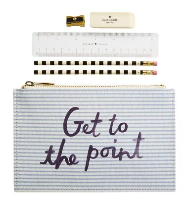 New Kate Spade Seersucker Pencil Pouch Faux Patent Get To The Point w/ Pencils